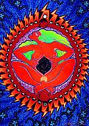 Shamanic Prints - Mama Cosmos Print by Angela Treat Lyon
