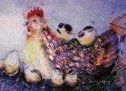 Chicken Digital Art Posters - Mama Hen And Her Brood Poster by Arline Wagner