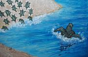 Sea Turtles Painting Metal Prints - Mama Sea Turtle and Babies Metal Print by Nancy Mueller