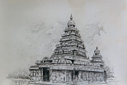 Temple Drawings - Mamallapuram - sea sore temple of Tamilnadu India by Seni