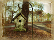 Fall Leaves Posters - Mamaws Birdhouse Poster by Steven  Michael
