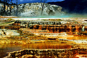 Yellowstone Digital Art Prints - Mammoth Terrace - Yellowstone Print by Ellen Lacey