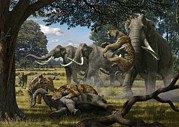 Defending Metal Prints - Mammoths And Sabre-tooth Cats, Artwork Metal Print by Mauricio Anton