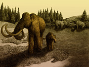 Mammoths Print by Spencer Sutton and Photo Researchers