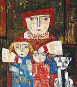21 Paintings - Mammy children and cat by Elin Bogomolnik