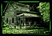 Abandoned Houses Digital Art Metal Prints - Man Abandons Nature Reclains Metal Print by Leslie Revels Andrews