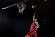 Basketball Sports Prints - Man About To Dunk Basketball Print by Matt Henry Gunther