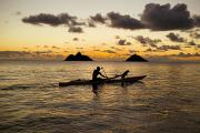 Hawaii Dog Photo Prints - Man And Dog In Canoe Print by Dana Edmunds - Printscapes