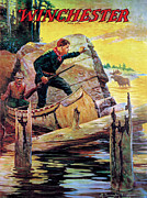 Old West Painting Prints - Man And Guide In Canoe Print by R Farrington Elwell