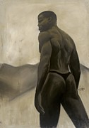 Black Man Pastels - Man and Mountains by L Cooper