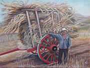 Mexican Landscapes Prints - Man and red cart Print by Judith Zur