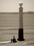 Monochrome Acrylic Prints - Man and Sea by Roberto Alamino