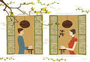 Coffee Drinking Digital Art Prints - Man And Woman Drinking Coffee View From Window Print by Eastnine Inc.