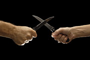 Arguing Prints - Man and woman fighting with domestic knives Print by Sami Sarkis