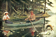 River Painting Framed Prints - Man and Woman Fishing Framed Print by JQ Licensing