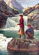 River Painting Metal Prints - Man and Woman Fishing Metal Print by JQ Licensing