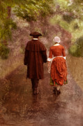 Colonial Man Photo Framed Prints - Man and Woman in 18th Century Clothing Walking Framed Print by Jill Battaglia