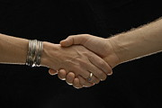 Partnership Posters - Man and woman shaking hands Poster by Sami Sarkis