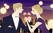 Bridegroom Posters - Man And Woman Toasting With Glasses Of Red Wine At Dining Table Poster by Eastnine Inc.