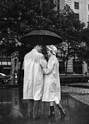 Mid Adult Framed Prints - Man And Woman Under Umbrella, Color Enhanced Framed Print by George Marks
