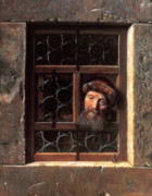 Old Wall Painting Prints - Man at a Window Print by Samuel van Hoogstraten