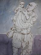 Man Carrying A Child Print by Aleksandra Buha