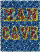 Valuable Mixed Media Metal Prints - Man Cave Bottle Cap Mosaic Metal Print by Paul Van Scott