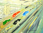 Patrick Paintings - Man Crossing Street in the Middle of the Day by Patrick Arthur OKeeffe