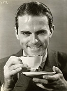 Coffee Drinking Photo Posters - Man Drinking Cup Of Coffee Poster by George Marks
