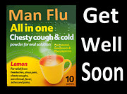 Get Well Soon Prints - Man Flu Sympathy  Print by Rob Hawkins