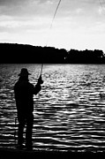 Closing Time Prints - Man Flyfishing Lake Ireland Print by Joe Fox