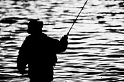 Closing Time Prints - Man Flyfishing On A Lake In Ireland Print by Joe Fox
