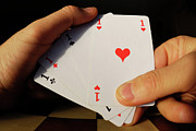 Only Men Framed Prints - Man holding four Aces cards in hand Framed Print by Sami Sarkis