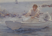 Dinghy Framed Prints - Man in a Rowing Boat Framed Print by Henry Scott Tuke