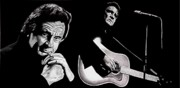 Singer Painting Posters - Man in Black Poster by Al  Molina