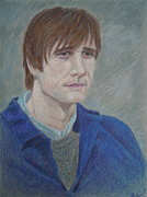 Depressed Pastels Posters - Man in Blue Poster by Kimberly Smith
