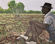 Burkina Faso Prints - Man in Field Burkina Faso Series Print by Reb Frost