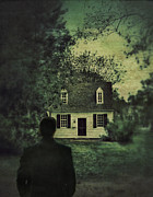 Clapboard House Photo Framed Prints - Man in Front of Cottage Framed Print by Jill Battaglia