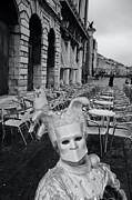 Man In Mask In Venice Black White Print by Design Remix
