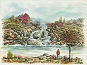 Waterscape Painting Prints - Man In Red Fishing By A Waterfall Print by Samuel Showman