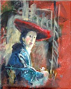 Gertrude Palmer Metal Prints - Man in Red Hat after Vermeer Metal Print by Gertrude Palmer