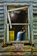 Gloomy Framed Prints - Man in Ruined House Framed Print by Jill Battaglia