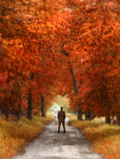 Middle Of Nowhere Prints - Man in Suit on Rural Road in Autumn Print by Jill Battaglia