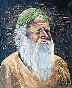 Beards Painting Framed Prints - Man In The Green Turban Framed Print by Arline Wagner