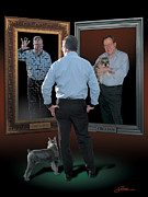 Harold Shull Posters - Man in the mirror Poster by Harold Shull