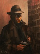 Pulp Magazines Paintings - Man in the Shadows by Tom Shropshire