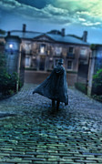 Moonlit Art - Man in Top Hat and Cape on Cobblestone Street by Jill Battaglia