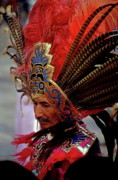 Ceremonies Prints - Man in traditional headdress to celebrate the Day of the Virgin of Guadalupe on December 12th in Mexico City Print by Sami Sarkis