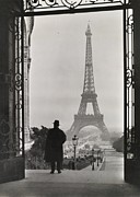 Famous Book Photos - Man Looking Out On The Eiffel Tower by Clifton R. Adams