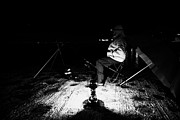 Concentration Prints - Man Nighttime Fishing Print by Joe Fox